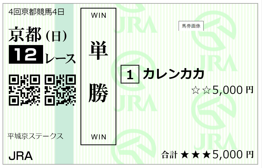 京都12レース単勝馬券