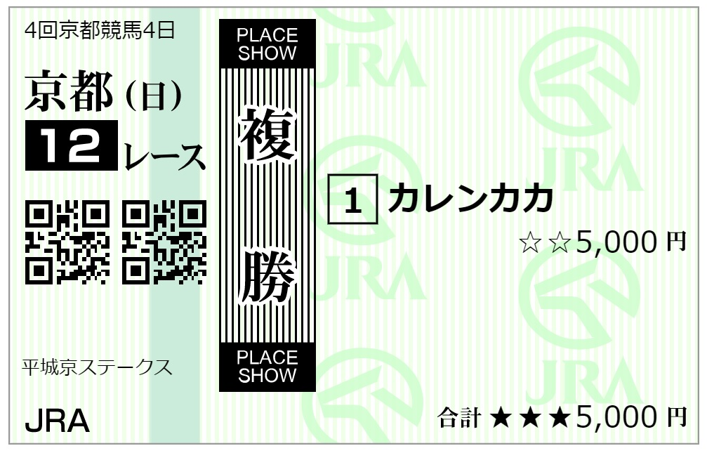 京都12レース複勝馬券