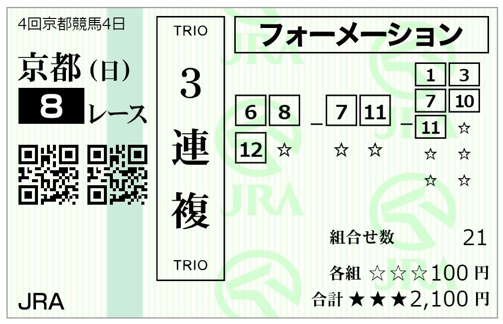 京都8レース馬券